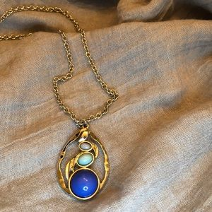 Joan Rivers Blue Cabochon Necklace in Silver